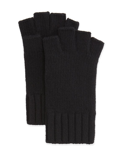 Fingerless Knit Cashmere Gloves  Black