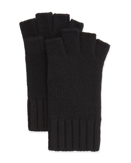 Fingerless Knit Cashmere Gloves, Black