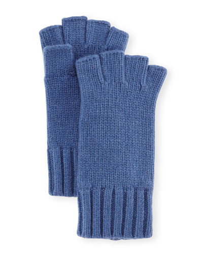 Fingerless Cashmere Gloves, Indigo