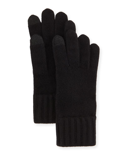 Cashmere Touch Screen Gloves, Black