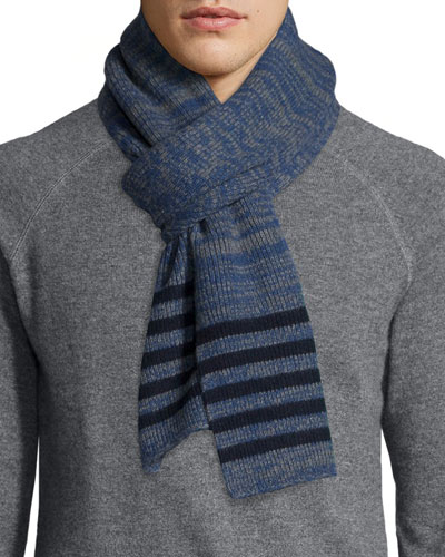Men's Marled Cashmere Scarf, Gray/Blue