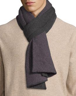 Men's Herringbone Knit Cashmere Scarf, Charcoal