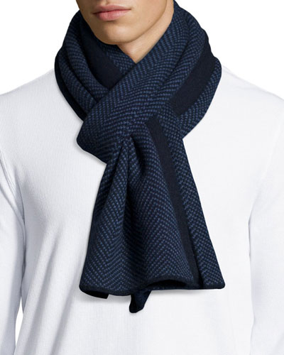 Men's Herringbone Knit Cashmere Scarf, Navy