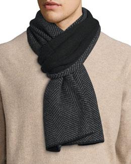 Men's Herringbone Knit Cashmere Scarf, Black