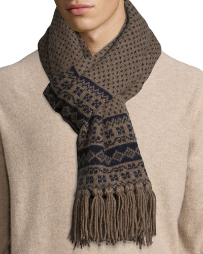 Men's Birdseye Fair Isle Cashmere Scarf, Brown