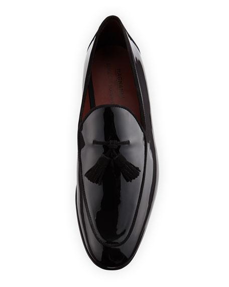 Patent Leather Tassel Loafer, Black