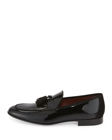 Patent Leather Tassel Loafer, Black