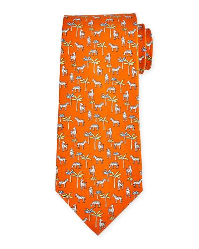 Zebra Print Silk Tie, Orange