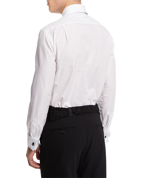 Long-Sleeve Pique-Bib Dress Shirt, White