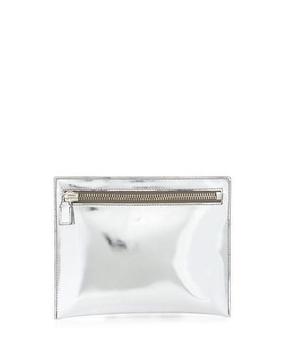 Metallic Leather Zip Pouch Bag, Silver