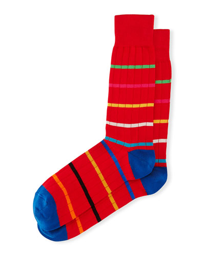 Men's Striped-Knit Rugby Socks, Red