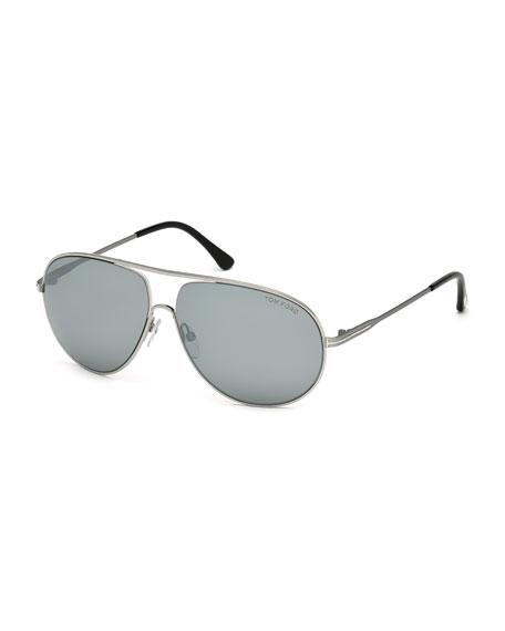 Cliff Metal Aviator Sunglasses, Smoke