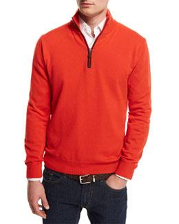 12GG Cashmere Half-Zip Sweater, Orange