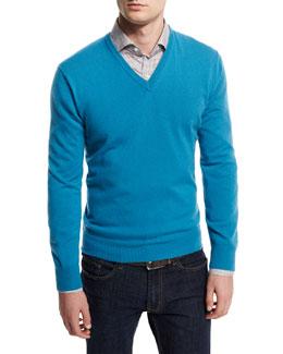 12GG Cashmere V-Neck Sweater, Blue