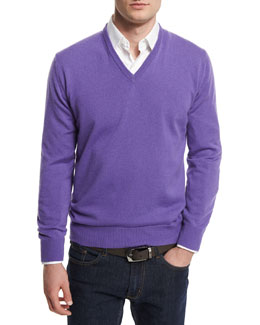 12GG Cashmere V-Neck Sweater, Purple