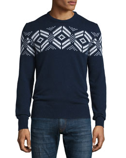 Long-Sleeve Knit Cashmere Snowflake Sweater, Navy
