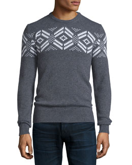 Long-Sleeve Knit Cashmere Snowflake Sweater, Charcoal