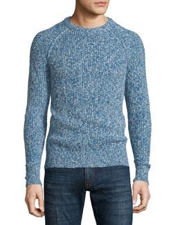 Marled Crewneck Knit Sweater, Blue