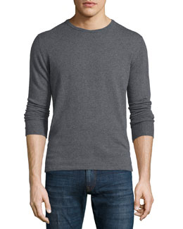 Long-Sleeve Cashmere-Blend Tee, Gray
