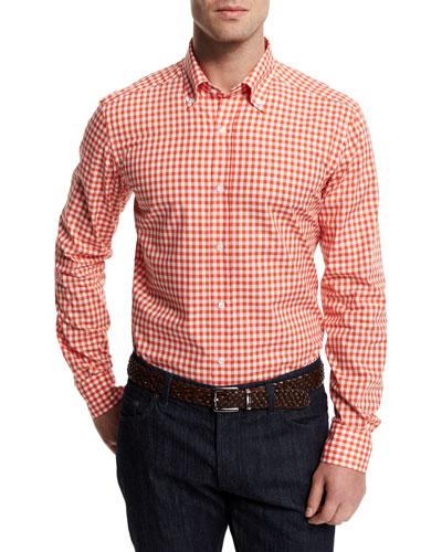 Gingham Woven Dress Shirt, Orange