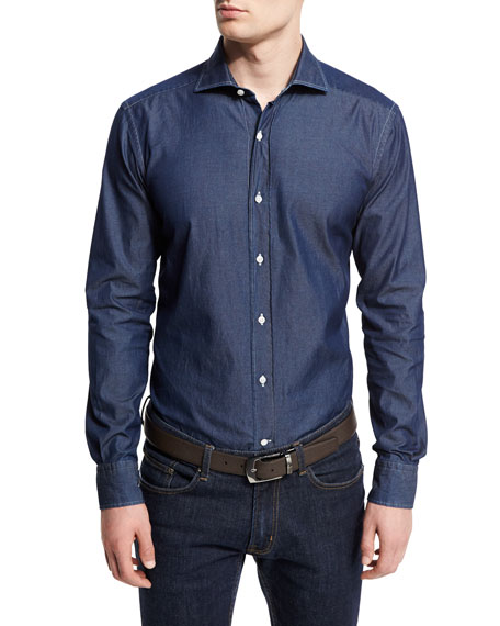 Washed Denim Button-Down Shirt, Slate