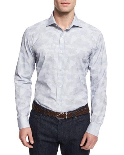 Small-Check Camo Woven Dress Shirt, Blue