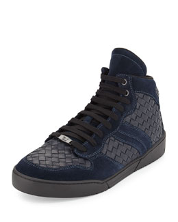 Men's Intrecciato High-Top Leather Sneaker, Blue