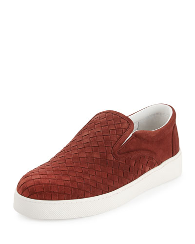Men's Woven Suede Slip-On Sneaker, Red Orange