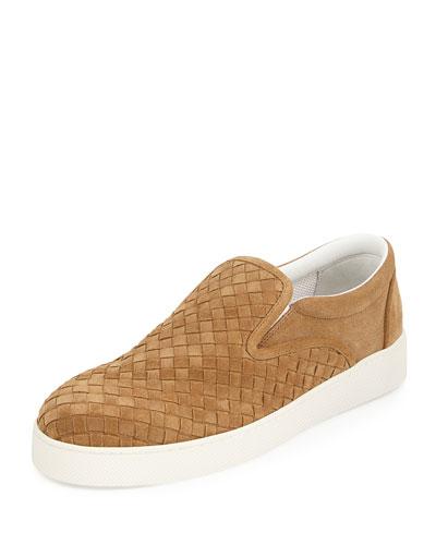 Men's Intrecciato Suede Skate Sneaker, Tan