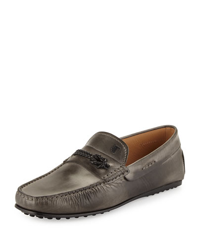 City Gommini Leather Driving Shoe, Gray