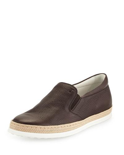 Pebbled-Leather Espadrille Slip-On Sneaker, Dark Brown