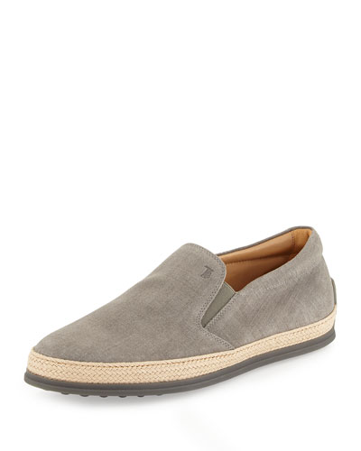 Linen Espadrille Slip-On Sneaker, Gray