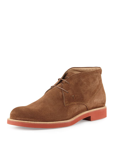 Rubber-Sole Suede Chukka Boot, Light Brown