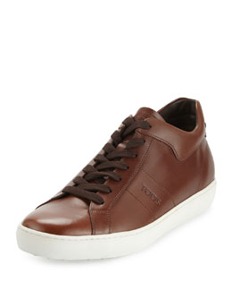Leather Mid-Top Sneaker, Light Brown