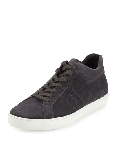 Suede Mid-Top Sneaker, Dark Gray