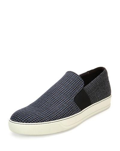 Houndstooth Wool Skate Sneaker, Gray