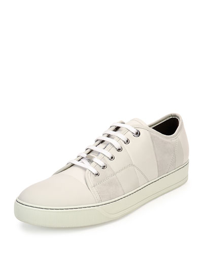 Patchwork Suede Low-Top Sneaker, White