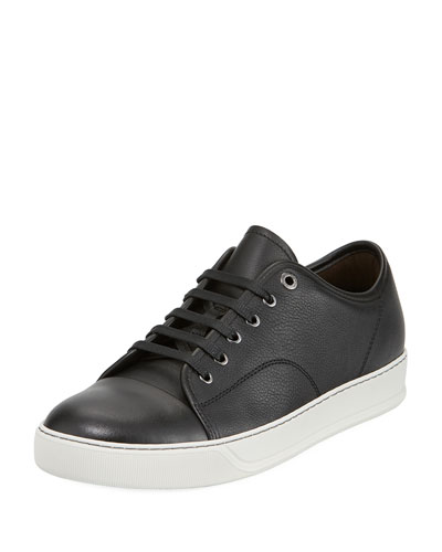 Grained Leather Low-Top Sneaker, Black
