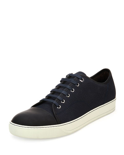 Shark-Embossed Leather Low-Top Sneaker, Navy