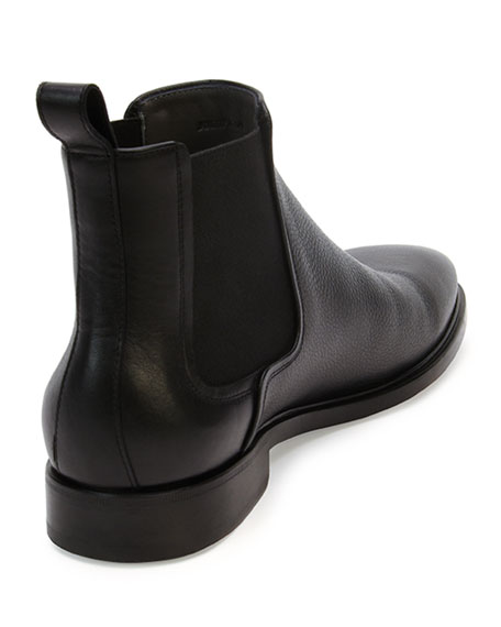Grained Leather Chelsea Boot, Black