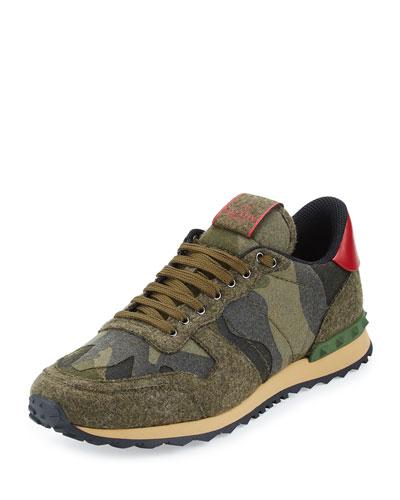 Rockrunner Felt Camo Trainer Sneaker, Olive