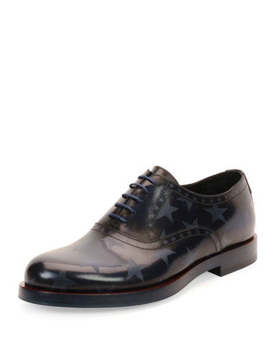 Star-Print Leather Lace-Up Oxford, Navy