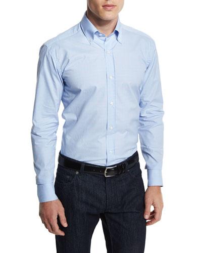 Small-Check Woven Dress Shirt, Blue