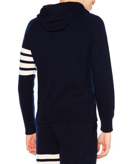 Zip-Front Hoodie Sweatshirt w/Striped Arm, Navy