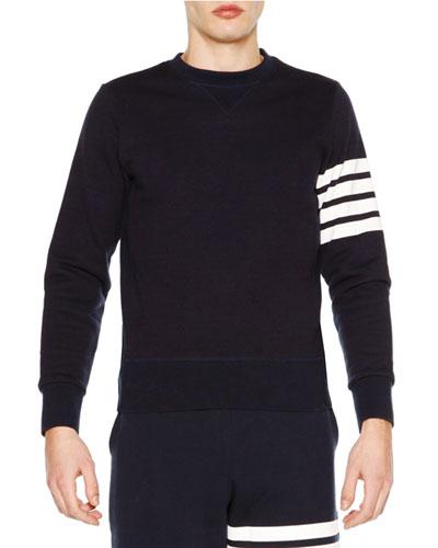 Crewneck Four-Stripe Sweatshirt, Navy