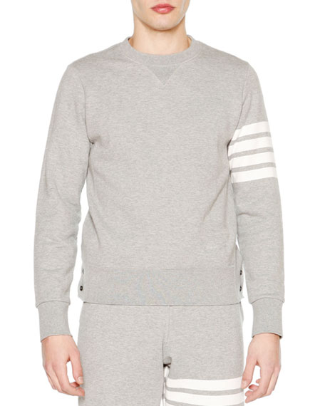 Crewneck Four-Stripe Sweatshirt, Light Gray