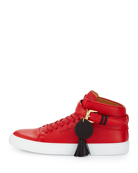 100mm Tassel Leather High-Top Sneaker, Red