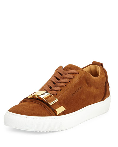 Men's Buckled Suede Low-Top Sneaker, Tan