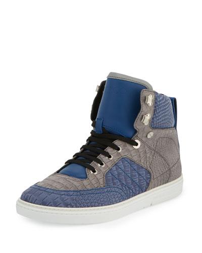 Bradley Men's Embossed Leather High-Top Sneaker, Gray