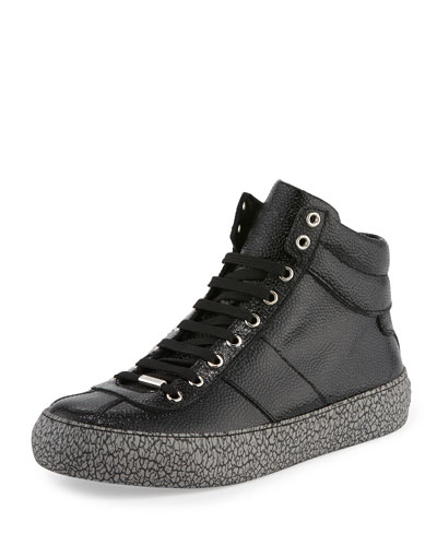 Belgravi Men's Leather High-Top Sneaker, Black